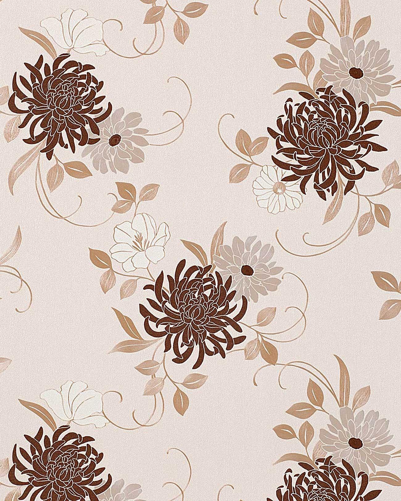 Papel pintado con dise o de flores y patr n floral edem for Papel pintado tonos beige