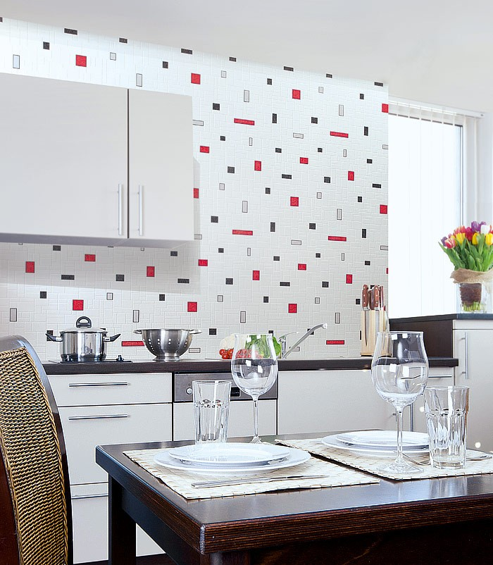 Baño Pintado De Rojo:Red Black and White Vinyl Wall Tiles