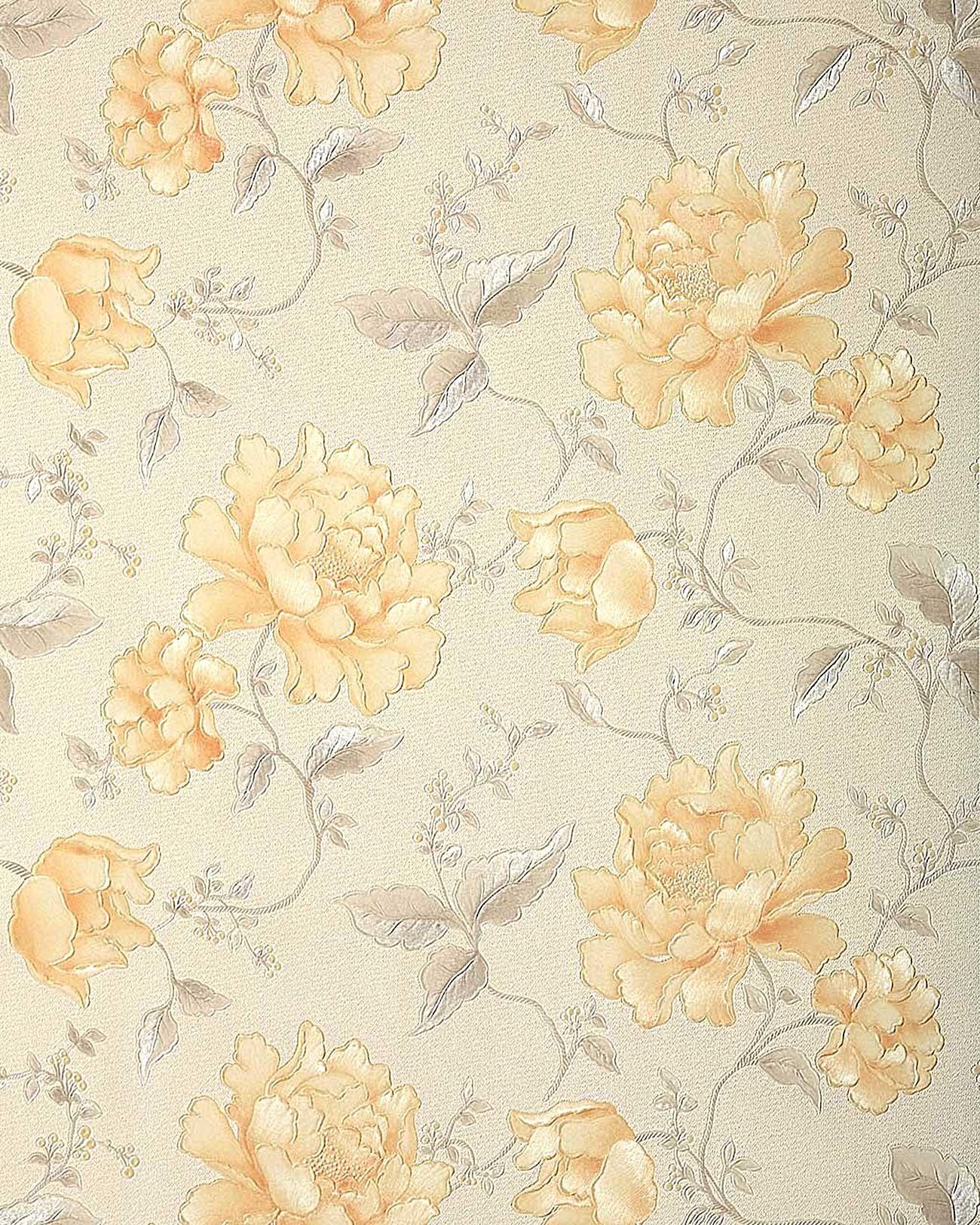 Asiatische Blumen Tapete : Ivory with Gold Floral Wallpaper