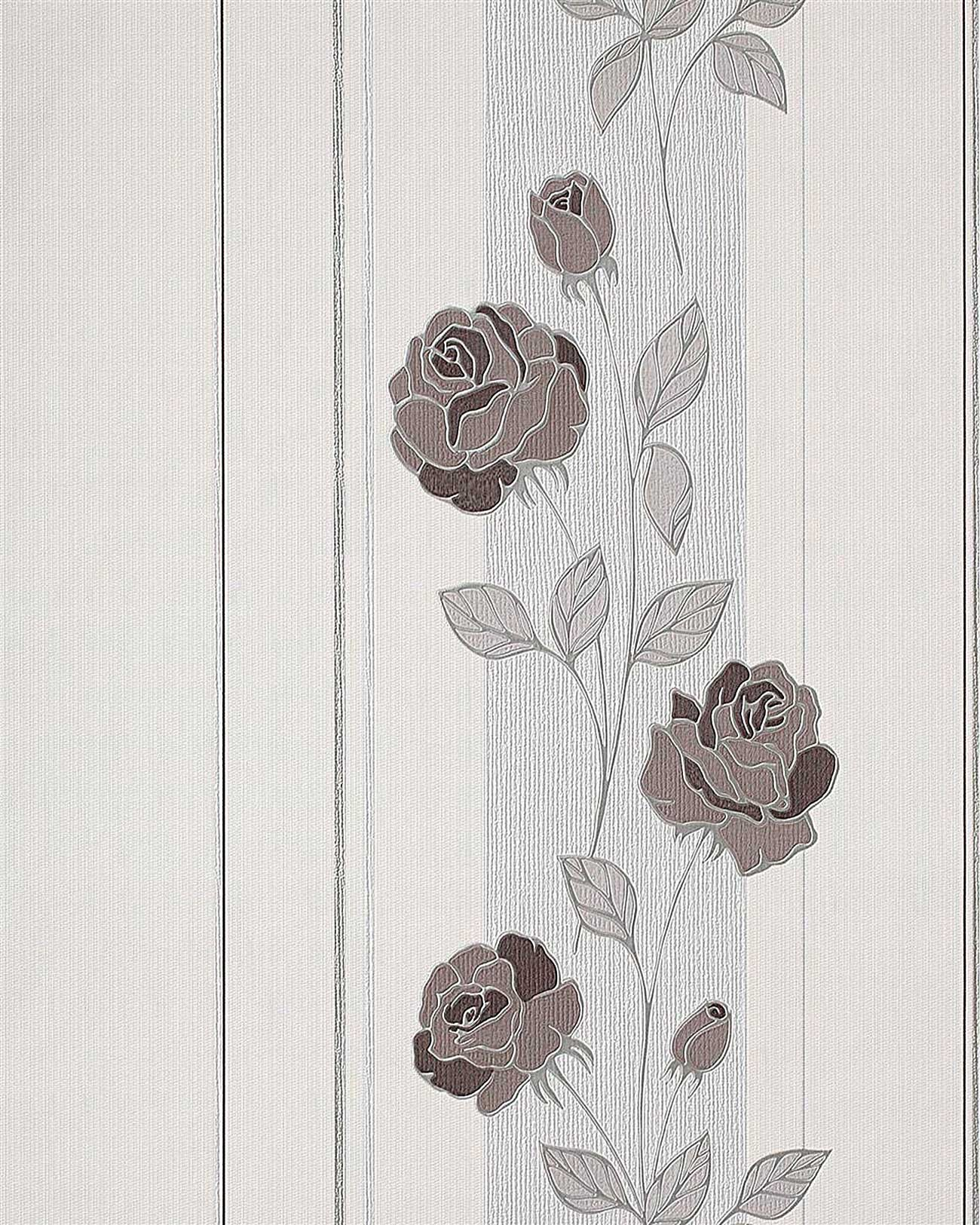 Papel pintado con patr n de flores rosas y rayas edem 766 - Papel pintado gris y plata ...