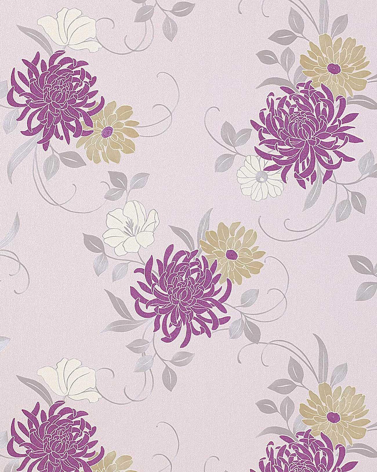 Papel pintado con dise o de flores y patr n floral edem 824 25 en lavanda claro morado beige - Papel pintado diseno ...