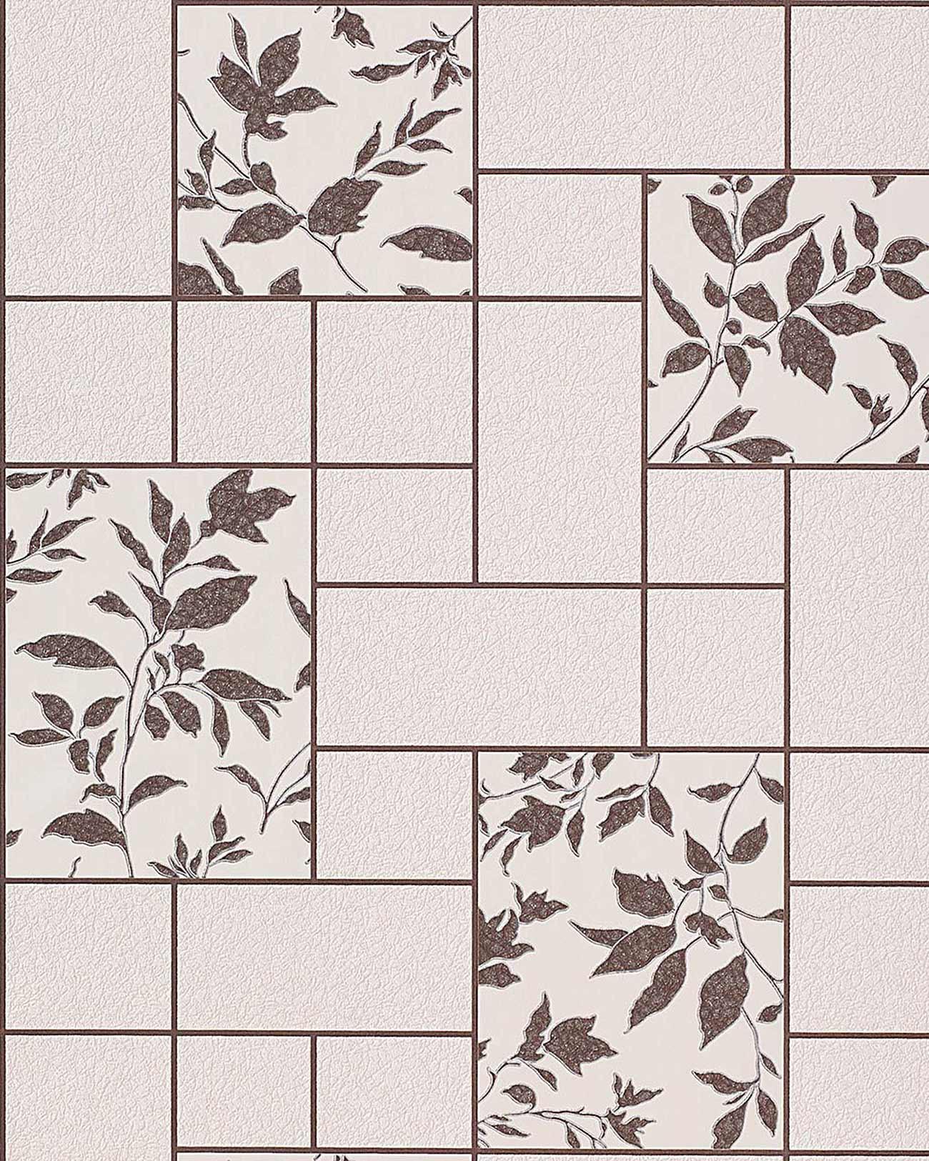 Papel pintado con dise o floral de azulejos para cocina y for Abwaschbare tapete