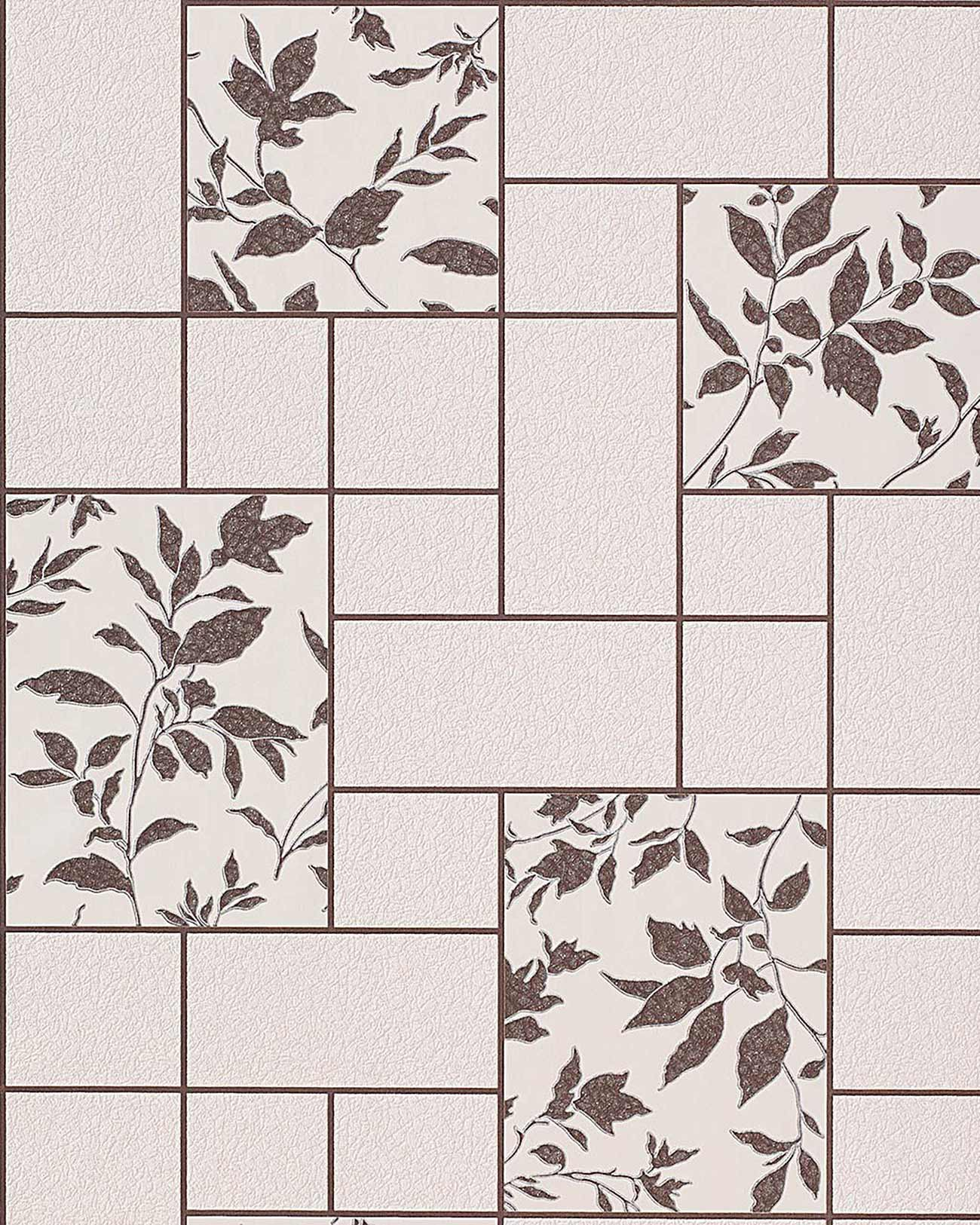 Papel pintado con dise o floral de azulejos para cocina y - Tipos de baldosa ...
