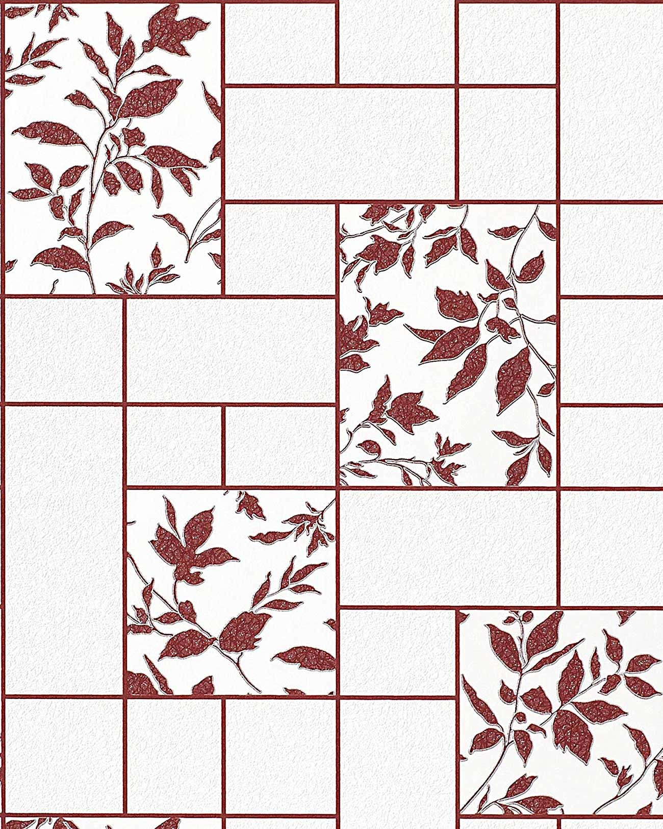 Baño Pintado De Rojo:Silver and White Floral Kitchen Tile