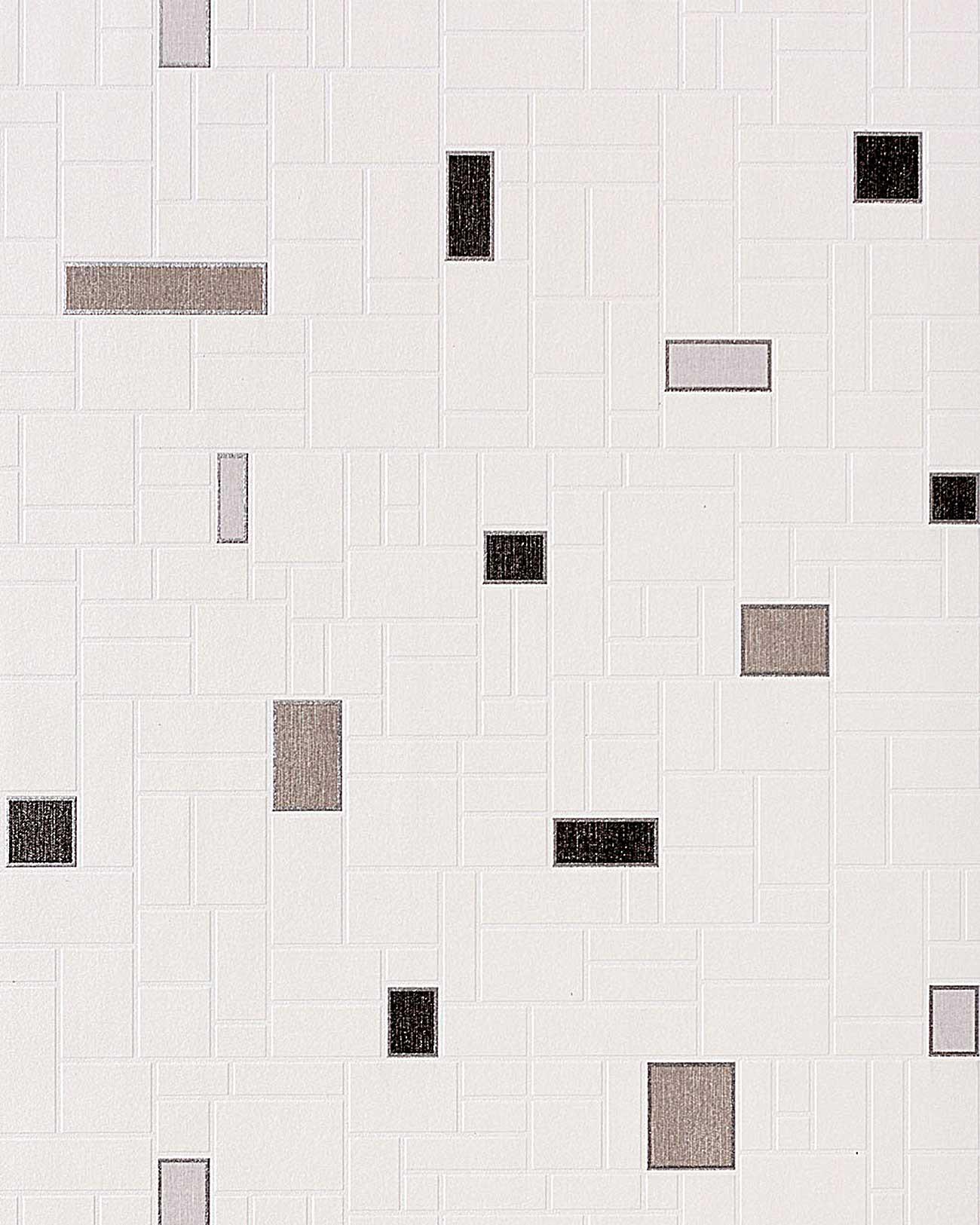 Papel mural con dise o de figuras geom tricas y azulejos - Papel pintado blanco y gris ...