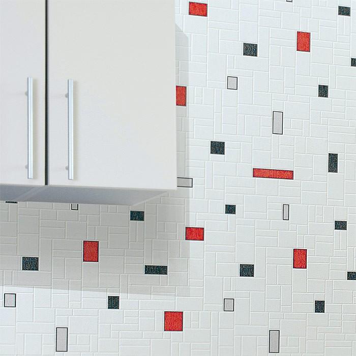 Baños Con Azulejos Rojos:Papel mural con diseño de figuras geométricas y azulejos lavable