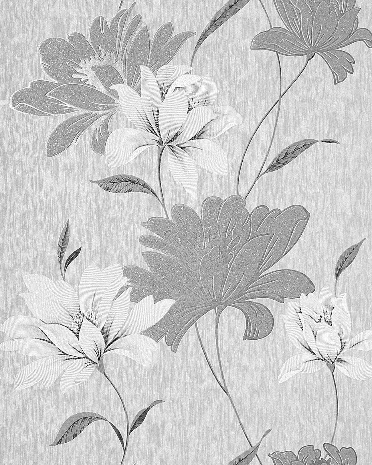 Papel pintado vin lico de dise o floral edem 168 36 gris - Papel pintado gris y plata ...