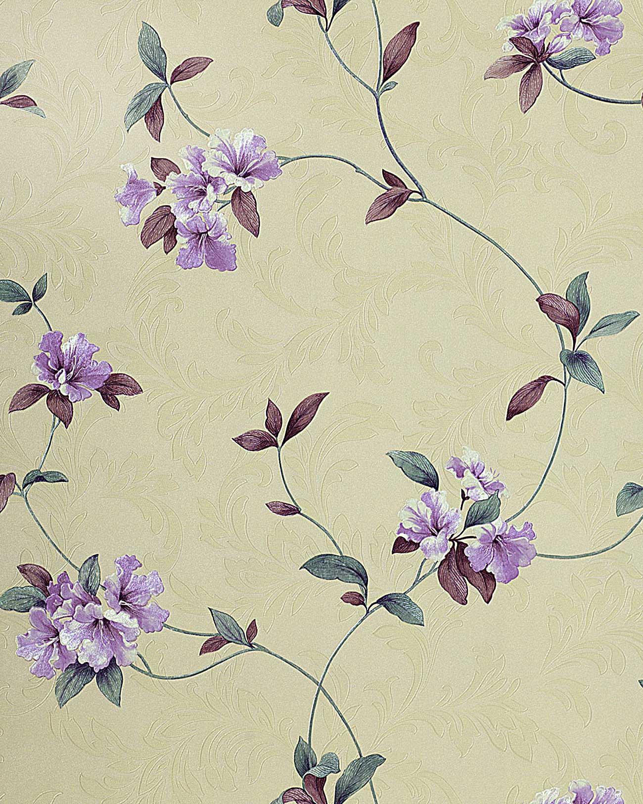 Papel pintado de alta calidad dise o floral con relieve - Papel pintado morado ...