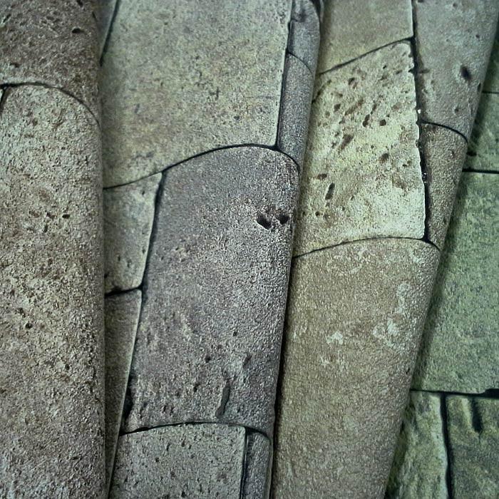 Papel pintado no tejido cubos de piedra mosaico edem 957 for Papel pintado piedra gris